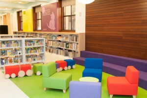 Families can feel at home in a large Children's Room in the renovated Central Library.