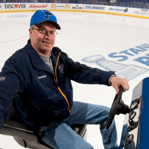 Jim Schmuke, head ice technician for the Blues, has spent decades behind the wheel of Olympia and Zamboni ice resurfacers.