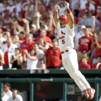 Albert Pujols hits a home run April 16, 2006.